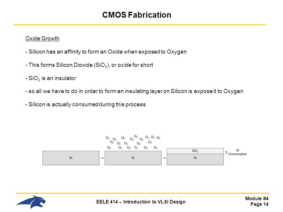 Module #4 Page 14 EELE 414 – Introduction to VLSI Design CMOS Fabrication Oxide Growth - Silicon has an affinity to form an Oxide when exposed to Oxyg