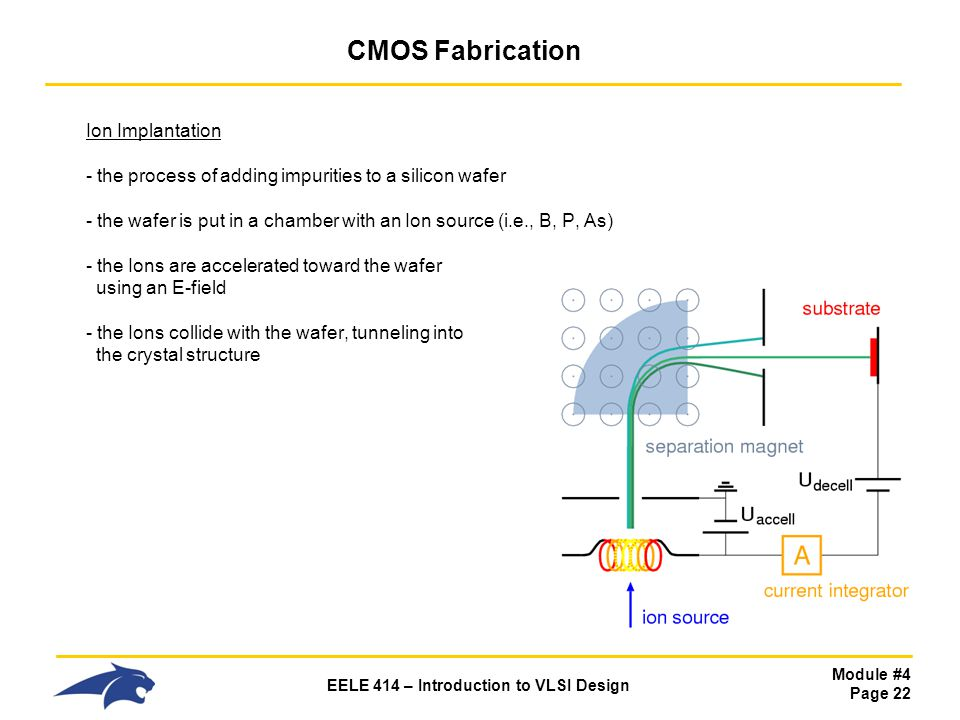 Module #4 Page 22 EELE 414 – Introduction to VLSI Design CMOS Fabrication Ion Implantation - the process of adding impurities to a silicon wafer - the