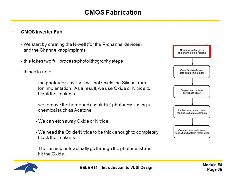 Module #4 Page 35 EELE 414 – Introduction to VLSI Design CMOS Fabrication CMOS Inverter Fab - We start by creating the N-well (for the P-channel devic