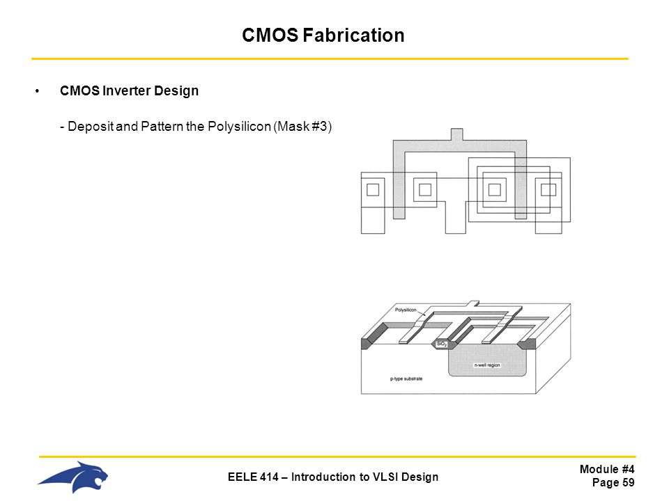 Module #4 Page 59 EELE 414 – Introduction to VLSI Design CMOS Fabrication CMOS Inverter Design - Deposit and Pattern the Polysilicon (Mask #3)