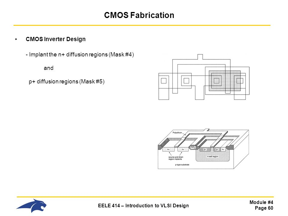 Module #4 Page 60 EELE 414 – Introduction to VLSI Design CMOS Fabrication CMOS Inverter Design - Implant the n+ diffusion regions (Mask #4) and p+ dif