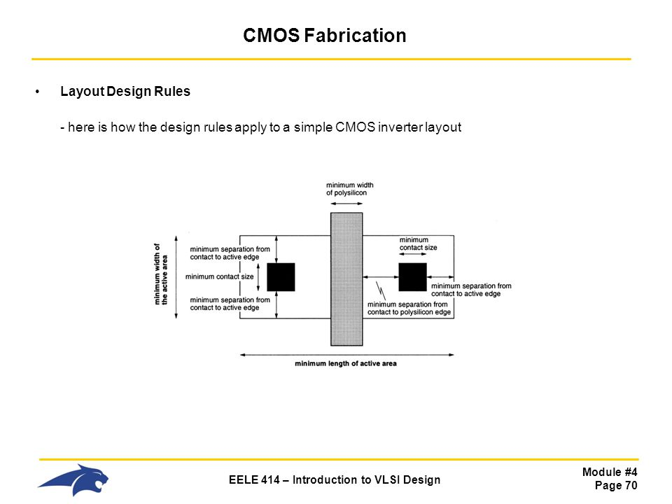 Module #4 Page 70 EELE 414 – Introduction to VLSI Design CMOS Fabrication Layout Design Rules - here is how the design rules apply to a simple CMOS in
