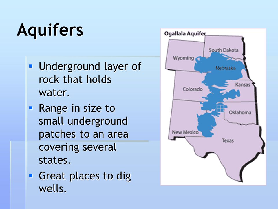 Aquifers  Underground layer of rock that holds water.  Range in size to small underground patches to an area covering several states.  Great places