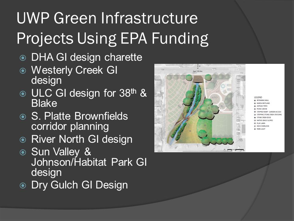Lessons Learned: DHA Stormwater/GI Charette Look beyond project boundaries to ensure a comprehensive approach & solution Identify all key stakeholders & stormwater plans before developing a regional solution Identify priorities & tradeoffs between water quantity & water quality solutions Define clear goals & metrics of success Collaboration & prioritization among city players is crucial for the successful implementation of solutions Innovative solutions may require research & testing City policies may limit the implementation & effectiveness of some stormwater strategies