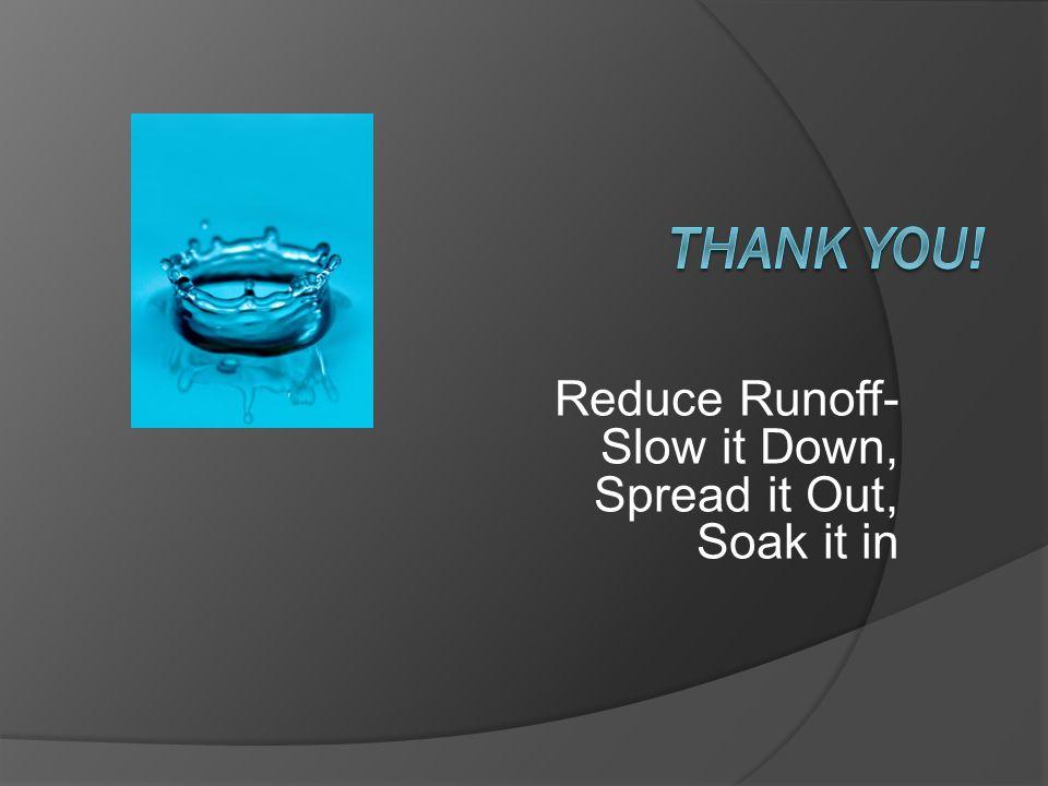 Reduce Runoff- Slow it Down, Spread it Out, Soak it in