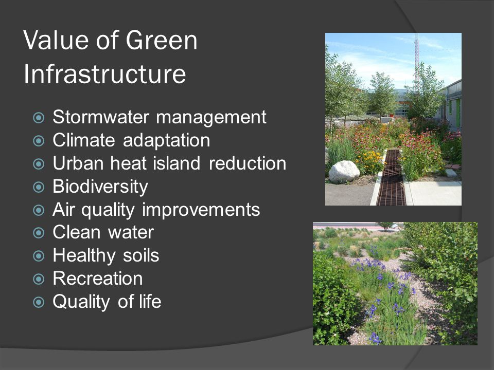 Additional Benefits  Reduced & delayed stormwater runoff volumes  Enhanced groundwater recharge  Stormwater pollutant reductions  Reduced sewer overflow events  Increased carbon sequestration  Additional wildlife habitat & recreational space  Improved human health  Increased land values  Less splash, spray, ponding, noise, and pollutants coming off permeable pavements  Can be less expensive than grey infrastructure, especially long term  More aesthetically pleasing  Makes communities more resilient