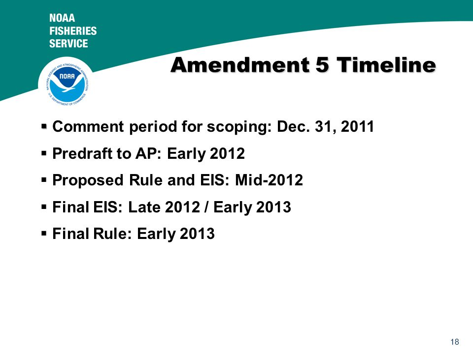 18 Amendment 5 Timeline   Comment period for scoping: Dec.
