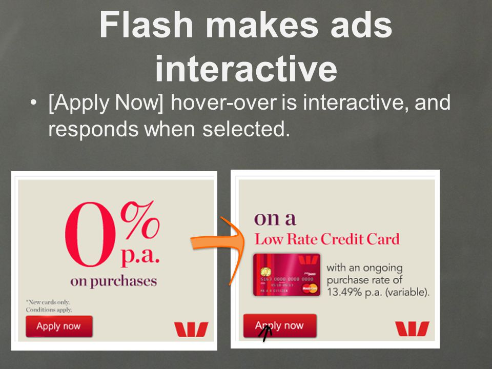 Flash makes ads interactive [Apply Now] hover-over is interactive, and responds when selected.