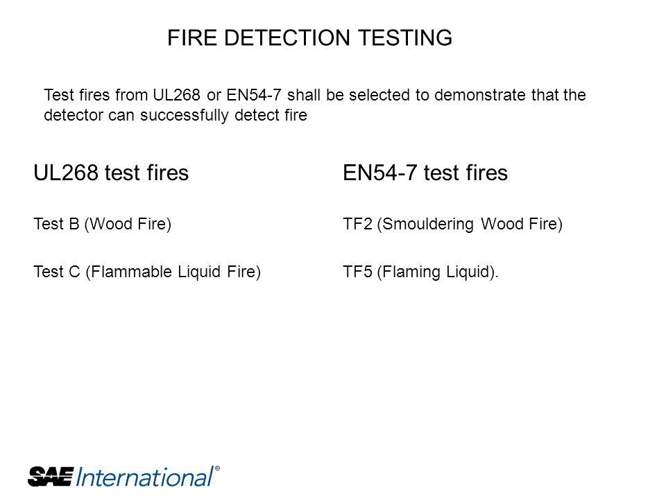 UL268 test fires Test B (Wood Fire) Test C (Flammable Liquid Fire) EN54-7 test fires TF2 (Smouldering Wood Fire) TF5 (Flaming Liquid). FIRE DETECTION