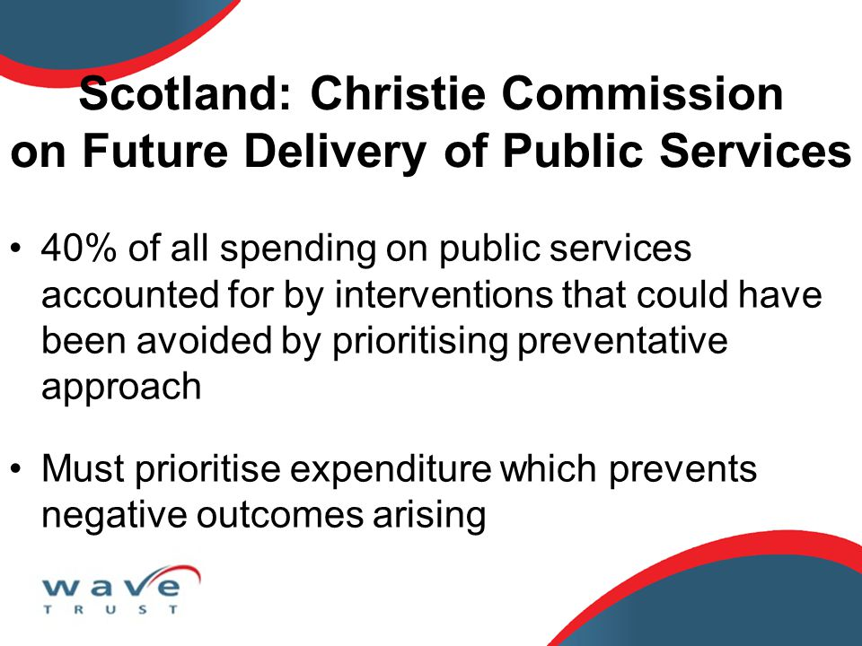 40% of all spending on public services accounted for by interventions that could have been avoided by prioritising preventative approach Must prioritise expenditure which prevents negative outcomes arising Scotland: Christie Commission on Future Delivery of Public Services