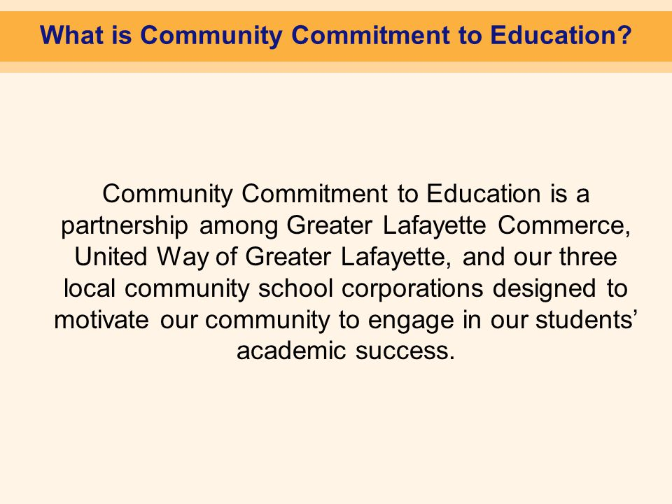 What is Community Commitment to Education.