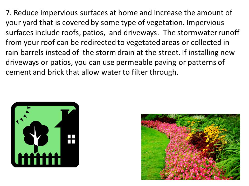 7. Reduce impervious surfaces at home and increase the amount of your yard that is covered by some type of vegetation. Impervious surfaces include roo