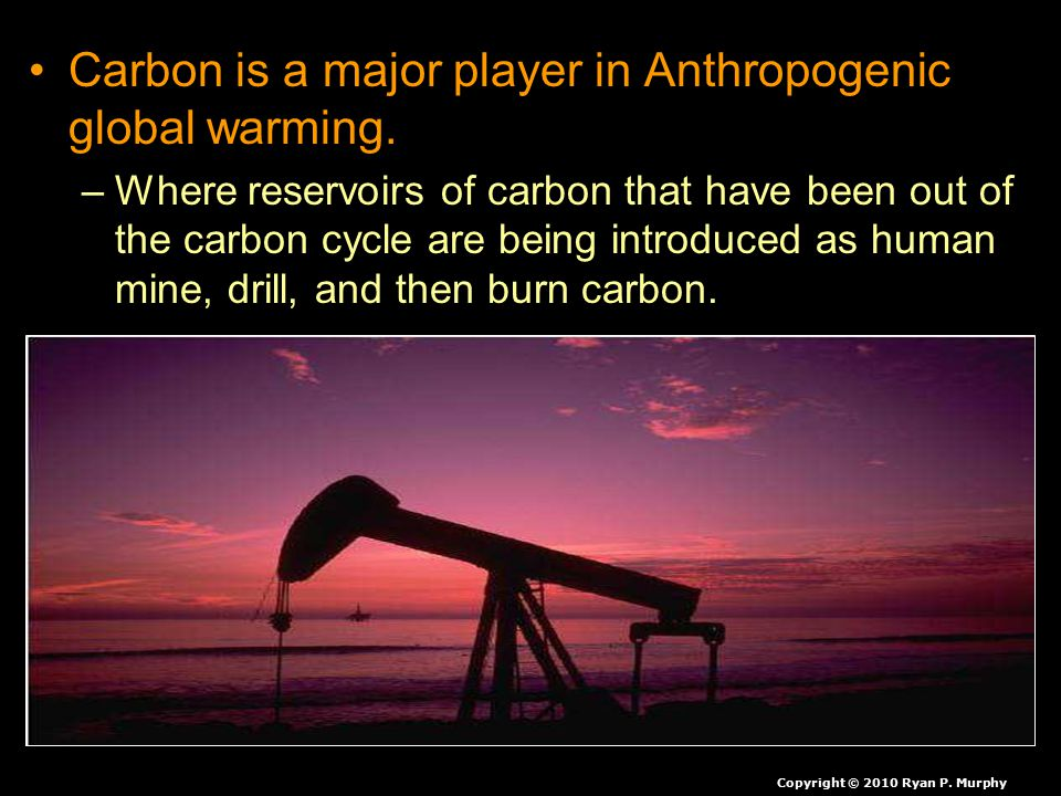 Carbon is a major player in Anthropogenic global warming.