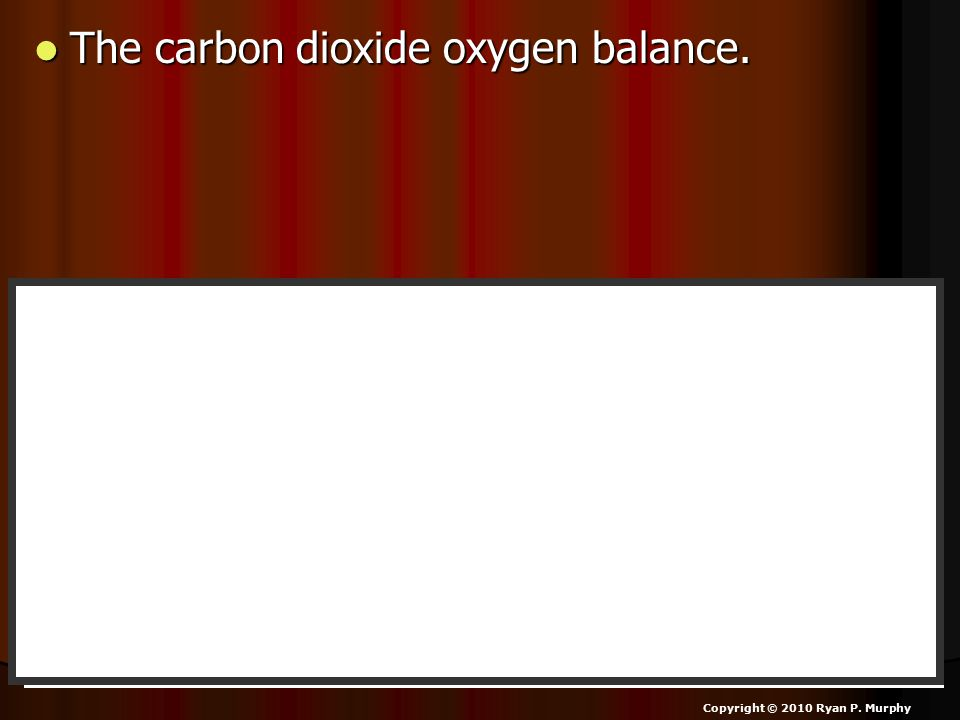 The carbon dioxide oxygen balance. The carbon dioxide oxygen balance. Copyright © 2010 Ryan P. Murphy Photosynthesis Respiration Mitochondria in plant