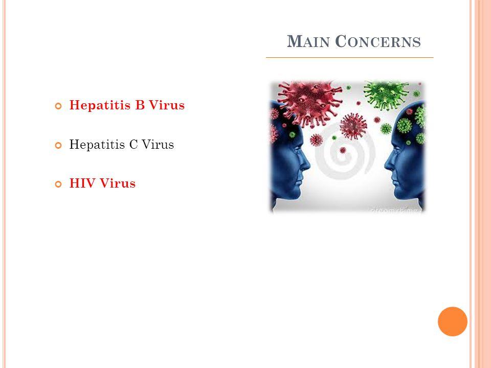 M AIN C ONCERNS Hepatitis B Virus Hepatitis C Virus HIV Virus