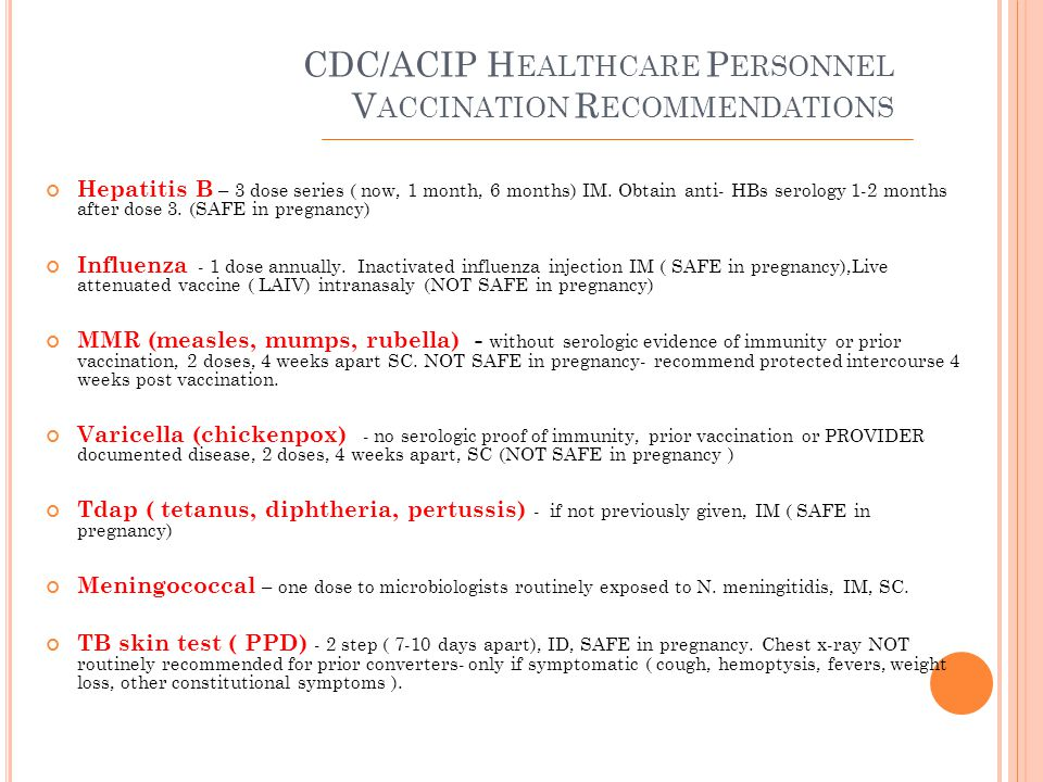 M AJOR O CCUPATIONAL I NFECTIOUS D ISEASE E XPOSURE R ISKS Bloodborne Pathogens Tuberculosis Meningococcus Selected disease risk to and from patients (Handout) Selected disease risk from patients to providers (Handout) Special populations ( pregnancy, immunosuppression ) (Handout) Ensure your notification follows your policy and any applicable Local or State Health Department Reporting Requirements.