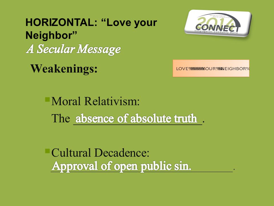"Weakenings:  Moral Relativism: The _____________________.  Cultural Decadence: __________________________________. HORIZONTAL: ""Love your Neighbor"""
