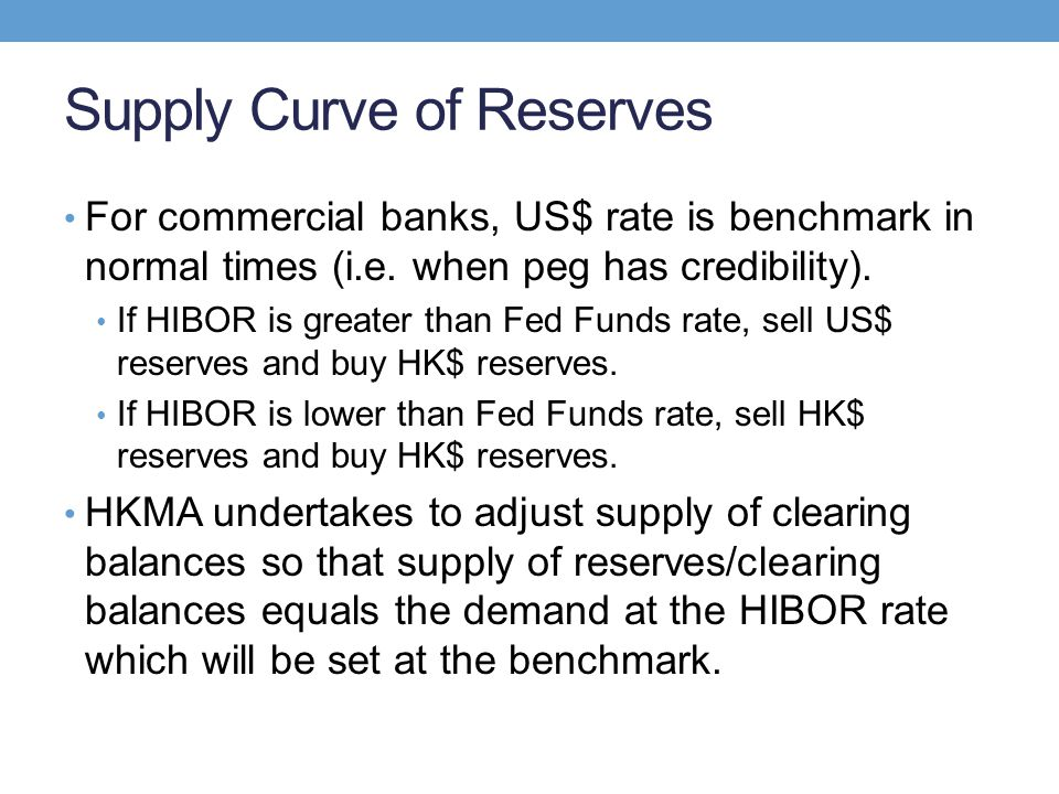 Supply Curve of Reserves For commercial banks, US$ rate is benchmark in normal times (i.e. when peg has credibility). If HIBOR is greater than Fed Fun