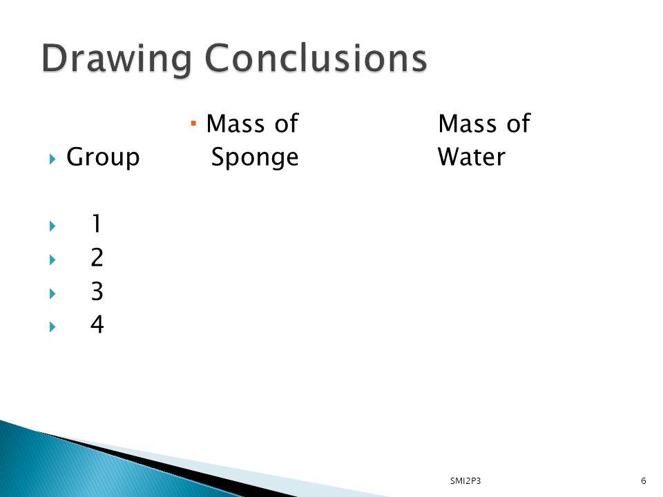  Mass ofMass of  Group SpongeWater  1  2  3  4 6SMI2P3