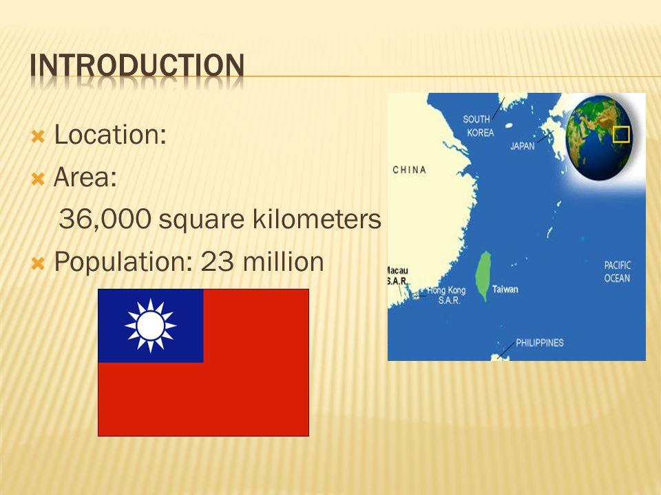  Location:  Area: 36,000 square kilometers  Population: 23 million