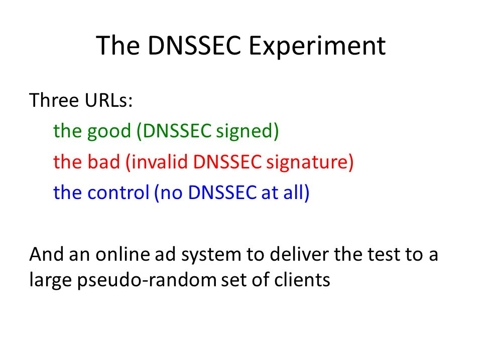 The DNSSEC Experiment Three URLs: the good (DNSSEC signed) the bad (invalid DNSSEC signature) the control (no DNSSEC at all) And an online ad system to deliver the test to a large pseudo-random set of clients