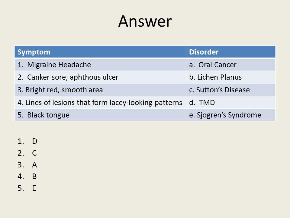 Answer 1.D 2.C 3.A 4.B 5.E SymptomDisorder 1.Migraine Headachea.
