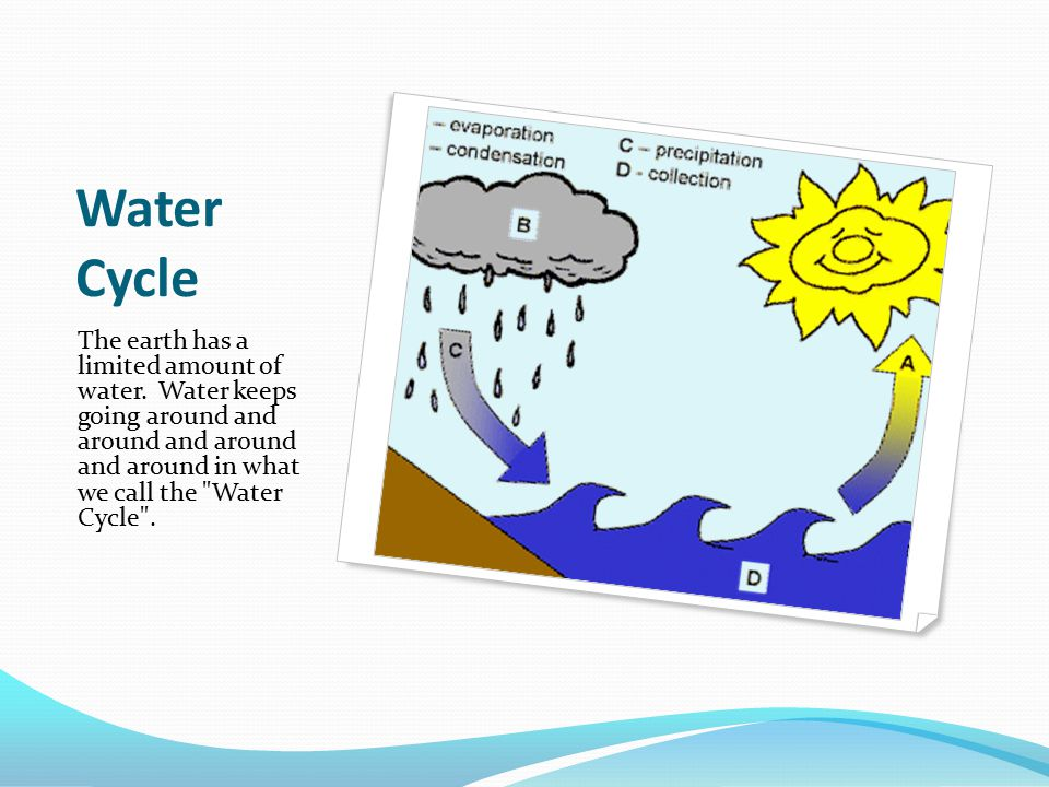 Water Cycle The earth has a limited amount of water.