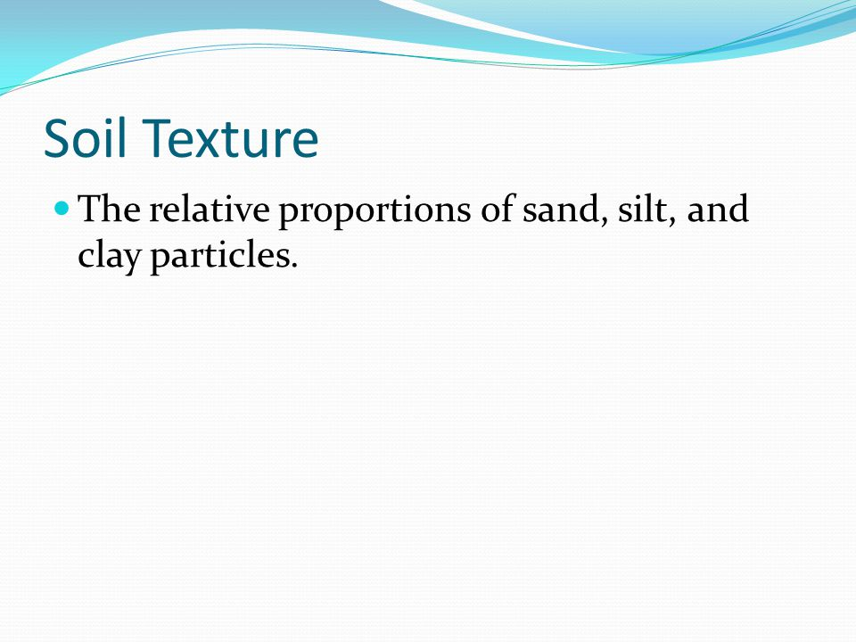 Soil Texture The relative proportions of sand, silt, and clay particles.