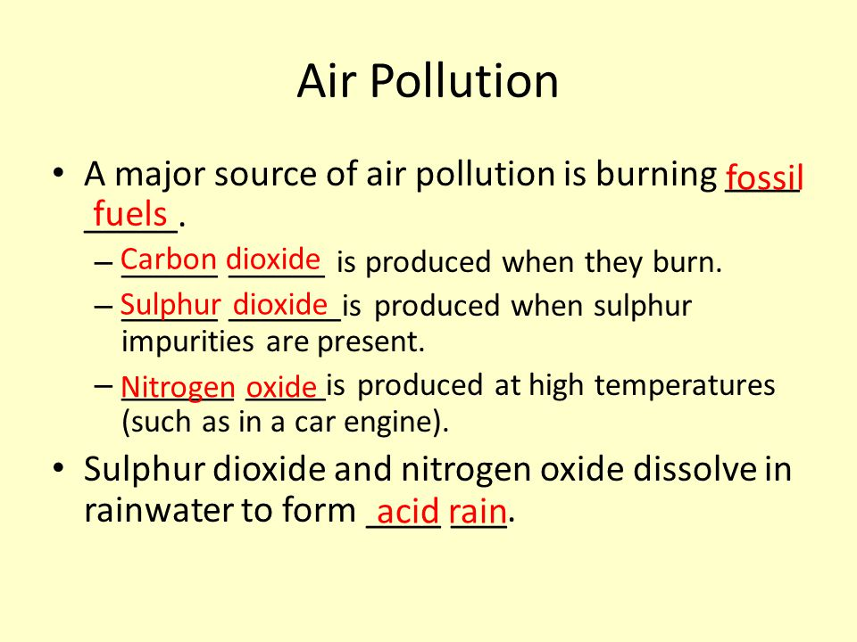Air Pollution A major source of air pollution is burning ____ _____. – ______ ______ is produced when they burn. – ______ _______is produced when sulp