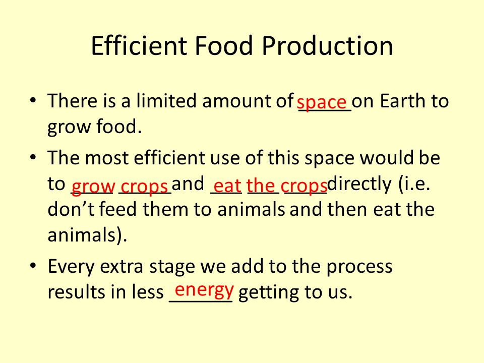 Efficient Food Production There is a limited amount of _____on Earth to grow food. The most efficient use of this space would be to ____ _____and ___