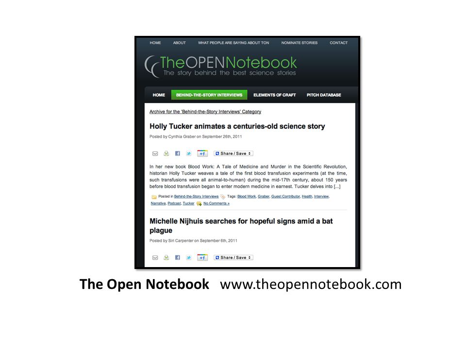 The Open Notebook www.theopennotebook.com