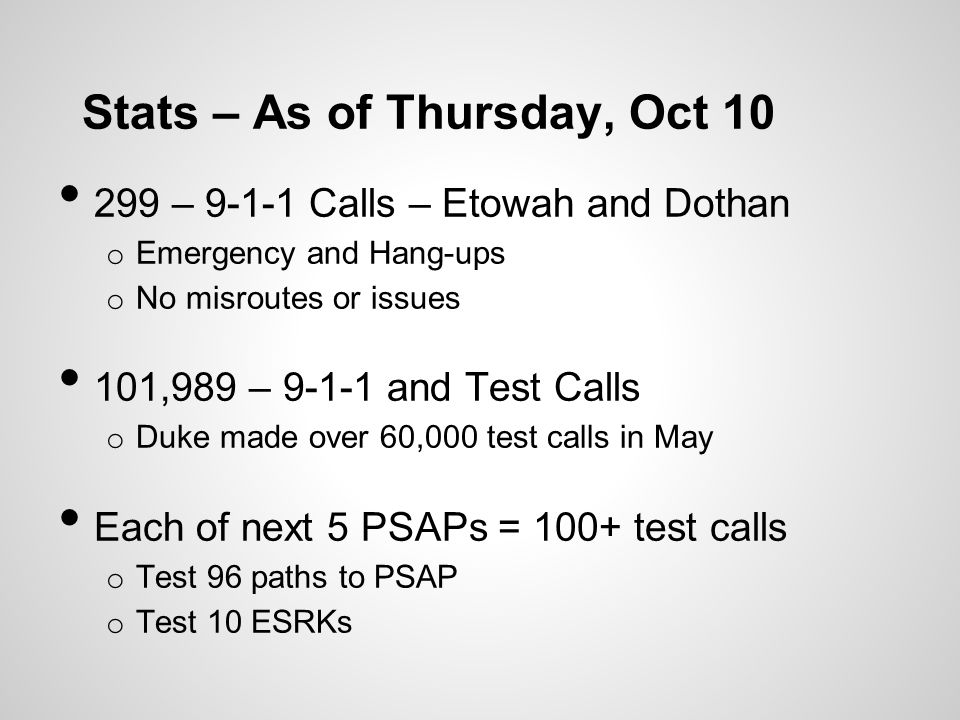 Stats – As of Thursday, Oct 10 299 – 9-1-1 Calls – Etowah and Dothan o Emergency and Hang-ups o No misroutes or issues 101,989 – 9-1-1 and Test Calls