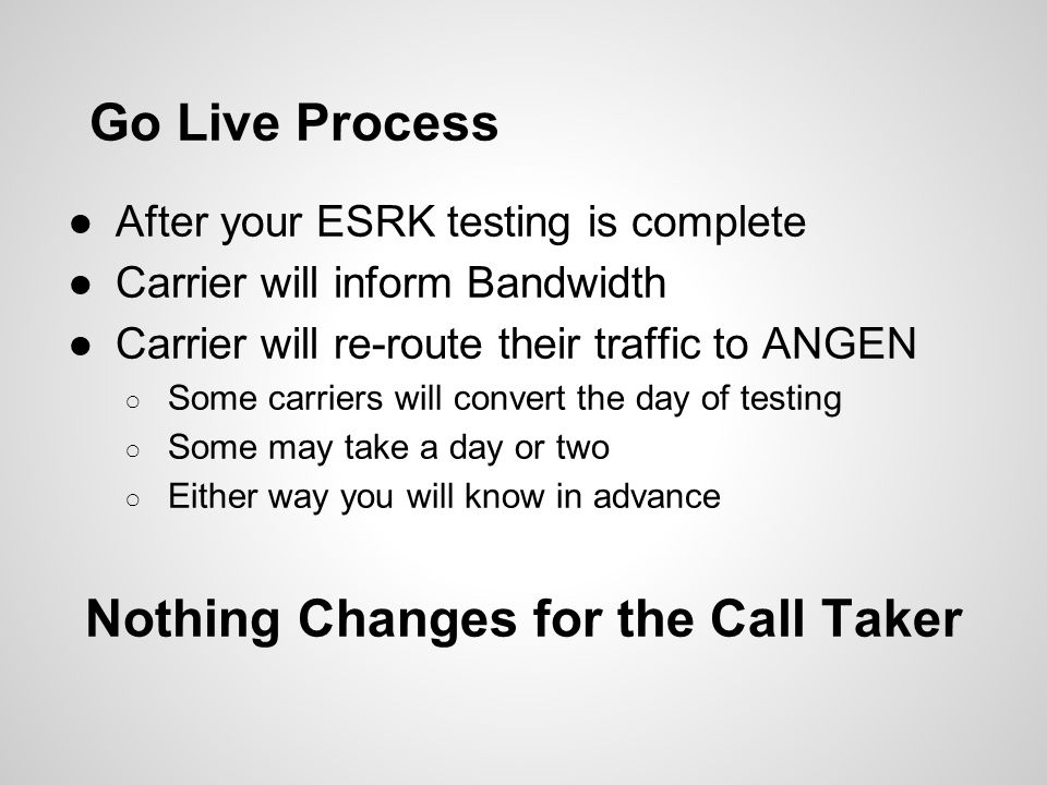 Go Live Process ●After your ESRK testing is complete ●Carrier will inform Bandwidth ●Carrier will re-route their traffic to ANGEN ○ Some carriers will