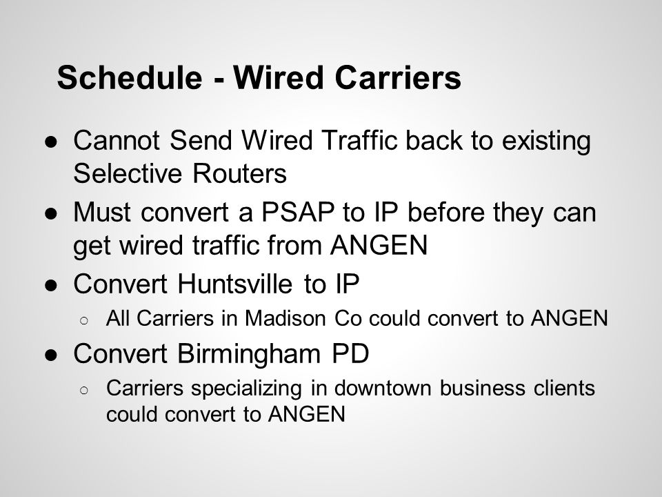 Schedule - Wired Carriers ●Cannot Send Wired Traffic back to existing Selective Routers ●Must convert a PSAP to IP before they can get wired traffic f