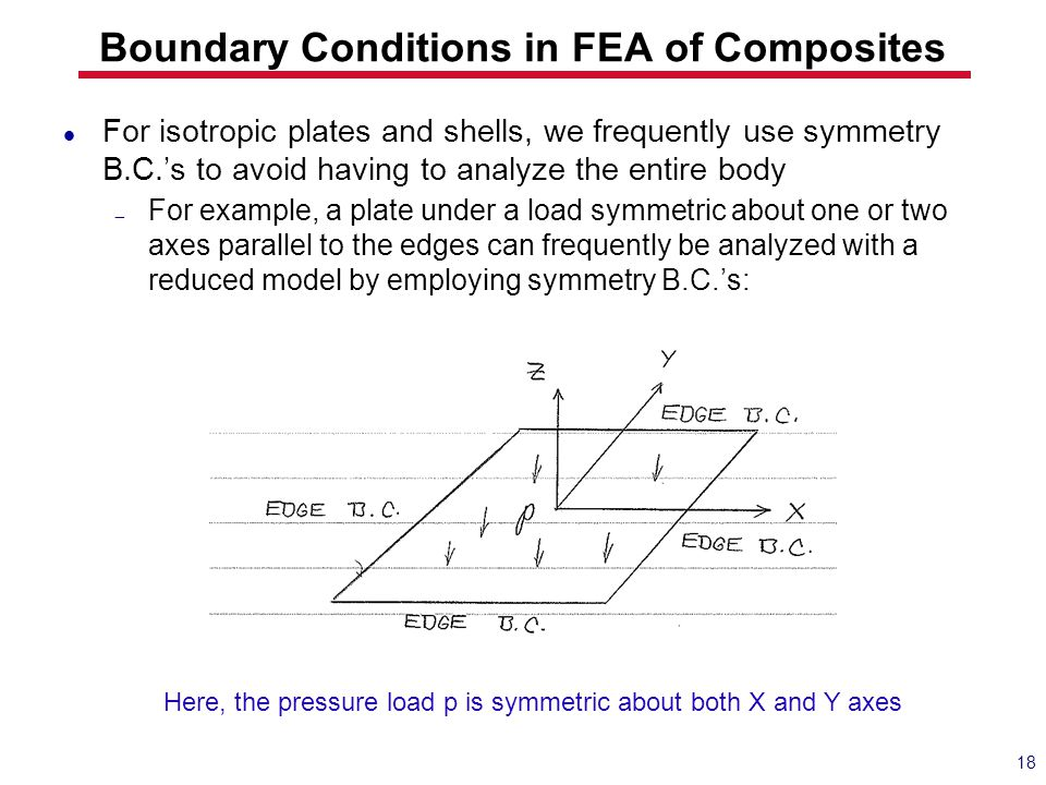 Boundary Conditions in FEA of Composites For isotropic plates and shells, we frequently use symmetry B.C.'s to avoid having to analyze the entire body