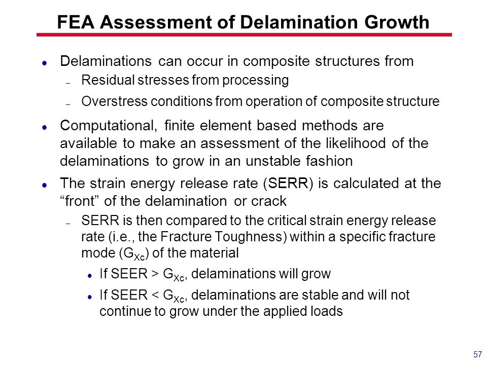 FEA Assessment of Delamination Growth Delaminations can occur in composite structures from  Residual stresses from processing  Overstress conditions