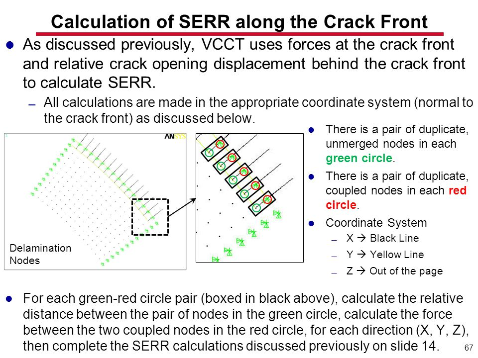 67 Calculation of SERR along the Crack Front As discussed previously, VCCT uses forces at the crack front and relative crack opening displacement behi