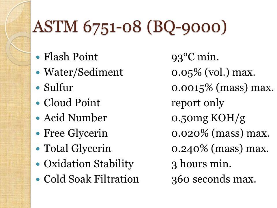 ASTM 6751-08 (BQ-9000) Flash Point93°C min. Water/Sediment0.05% (vol.) max.