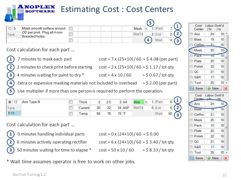 DocTrak Training 1.2 Estimating Cost : Calculations Click the Calc Cost/Time button..