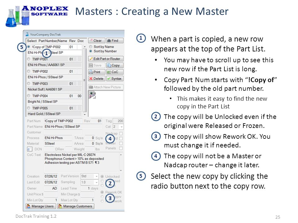 DocTrak Training 1.2 Masters : Part Data Entry Click the Edit Part or Router button to enable editing of part information and router.