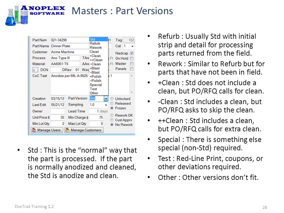 DocTrak Training 1.2 Masters : Checking the Router Check router for match to Nadcap requirements.
