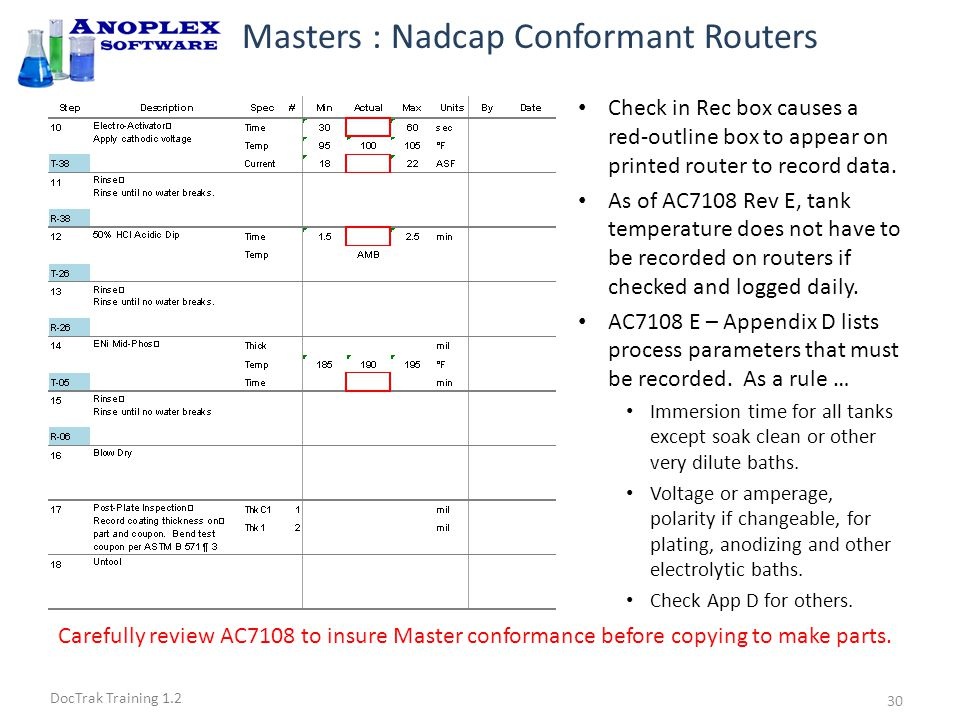 DocTrak Training 1.2 Masters : Checking the Router Make necessary process changes to router.