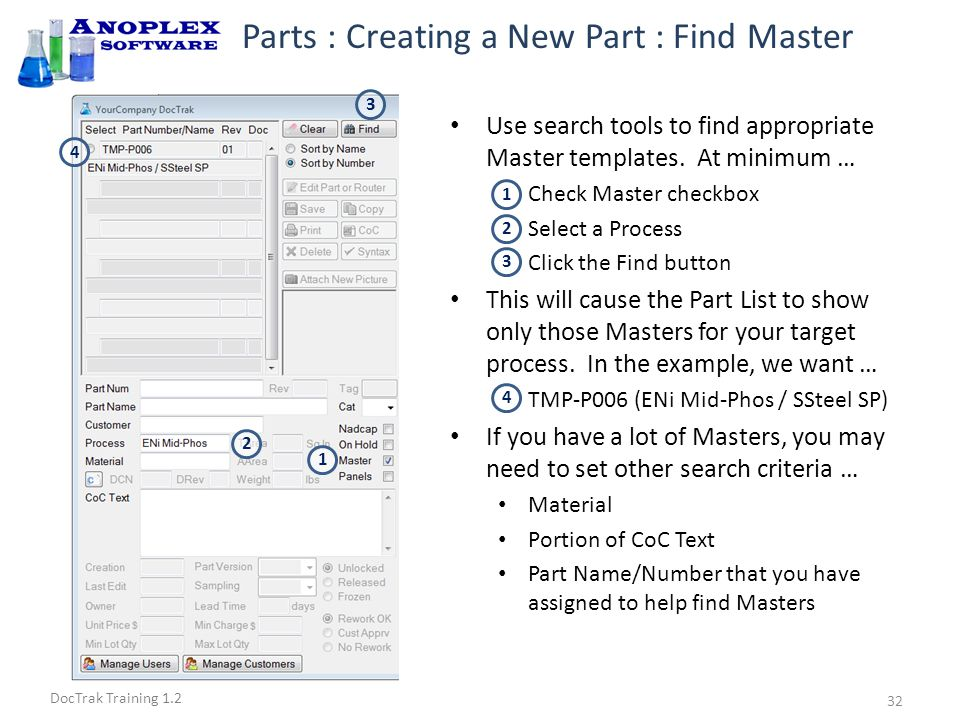 DocTrak Training 1.2 Parts : Creating a New Part : Copy Master Click the radio button to select the Master that you want to use.