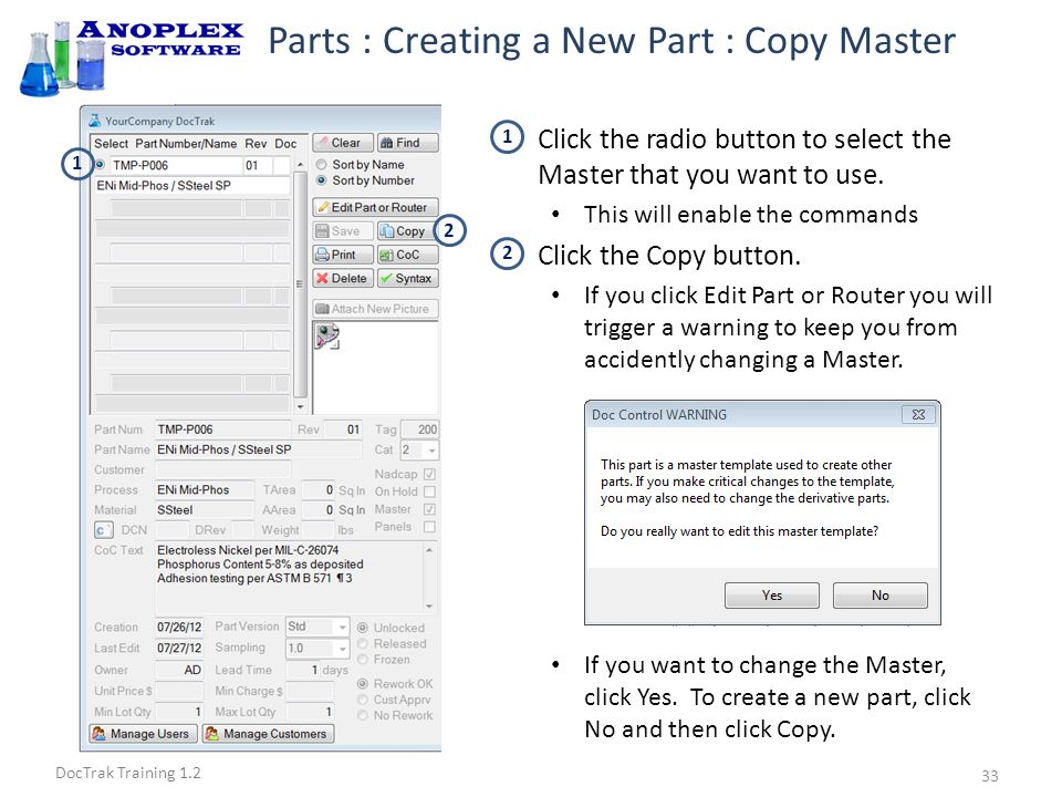 DocTrak Training 1.2 Parts : Creating a New Part : Part Data Click radio button by the !Copy part.