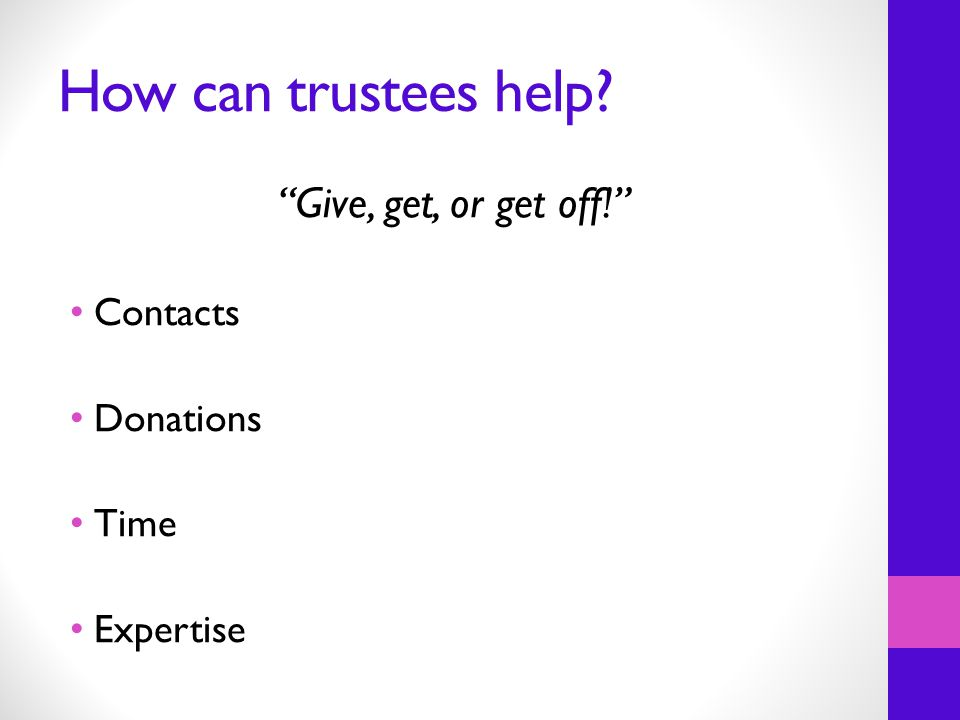 How can trustees help Give, get, or get off! Contacts Donations Time Expertise