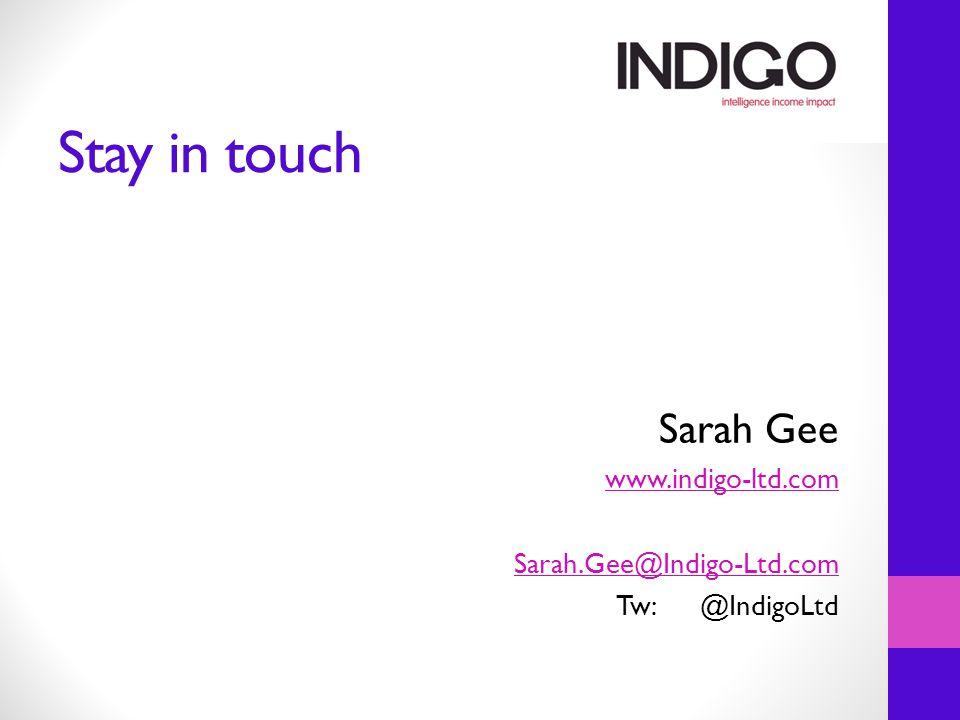 Stay in touch Sarah Gee www.indigo-ltd.com Sarah.Gee@Indigo-Ltd.com Tw:@IndigoLtd