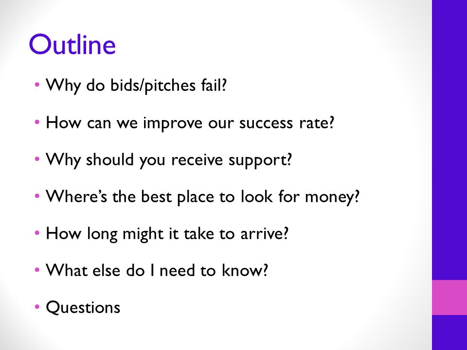 Outline Why do bids/pitches fail. How can we improve our success rate.