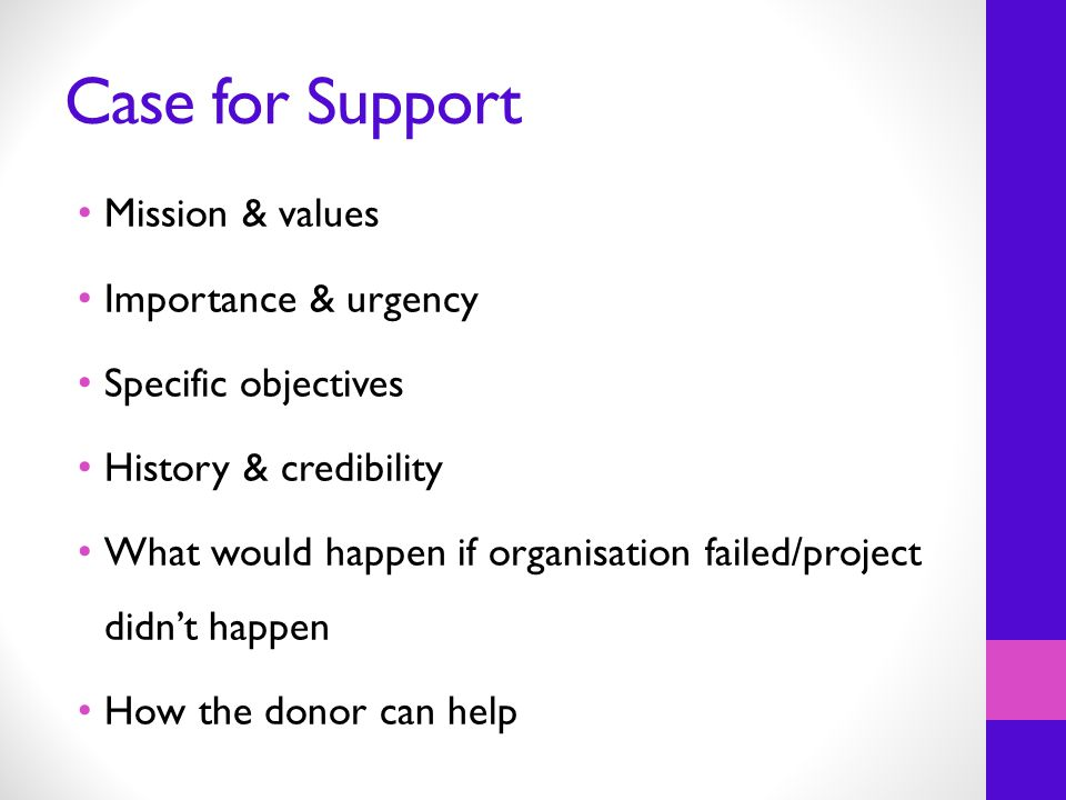 Case for Support Mission & values Importance & urgency Specific objectives History & credibility What would happen if organisation failed/project didn't happen How the donor can help