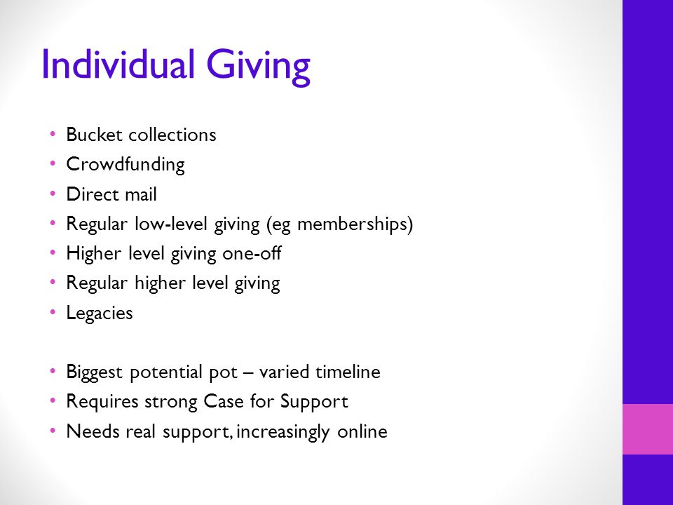 Individual Giving Bucket collections Crowdfunding Direct mail Regular low-level giving (eg memberships) Higher level giving one-off Regular higher level giving Legacies Biggest potential pot – varied timeline Requires strong Case for Support Needs real support, increasingly online