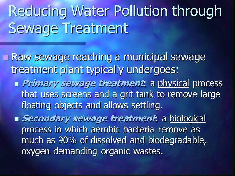 Reducing Water Pollution through Sewage Treatment Raw sewage reaching a municipal sewage treatment plant typically undergoes: Raw sewage reaching a mu